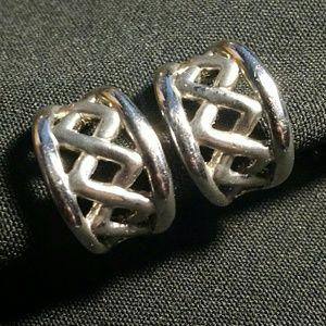 Jewelry - Vintage Clip-On Earrings Silver Tone Lattice Hoops